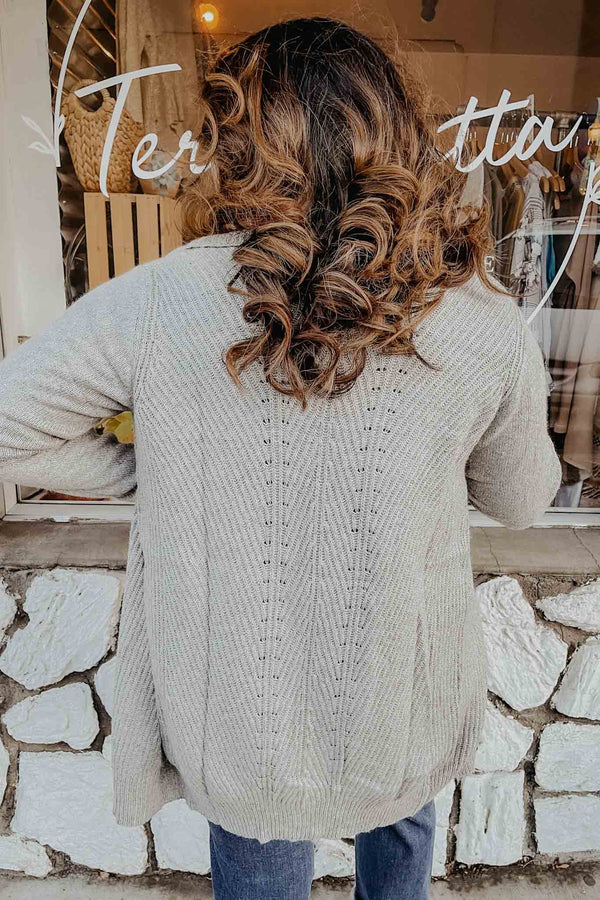 Gray Draped Cardigan Sweater Terra Cotta