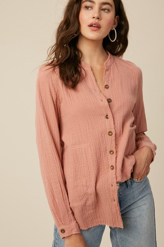 Terra Cotta Guava Distressed Button Down