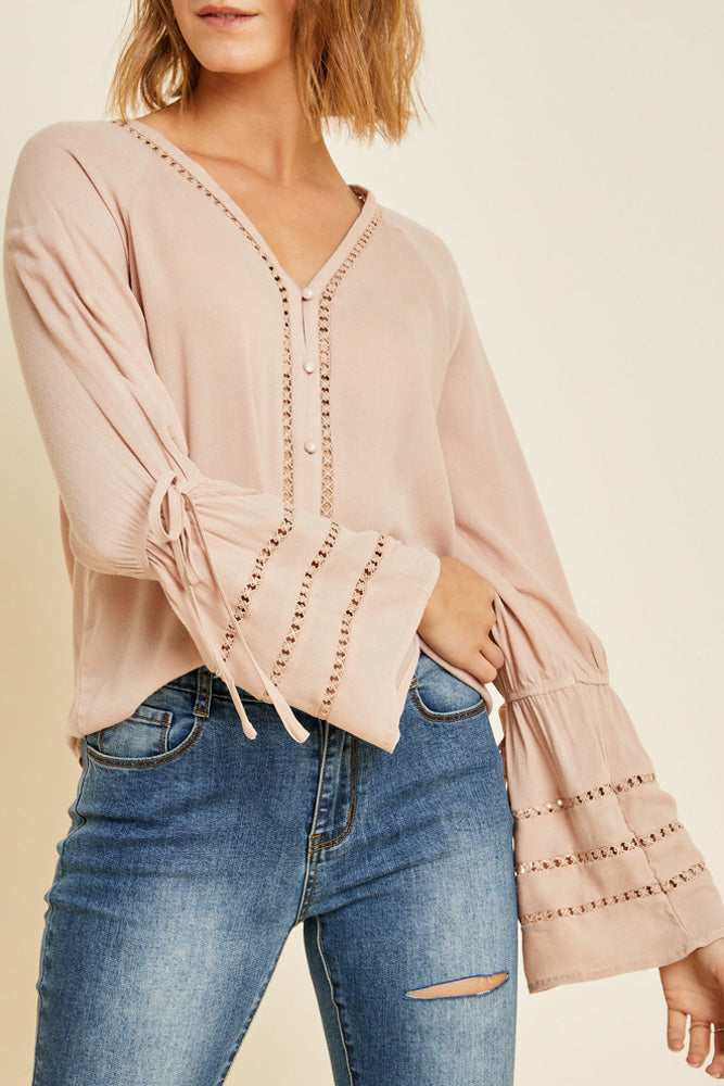 Blush Button-Down Bell Sleeve Top