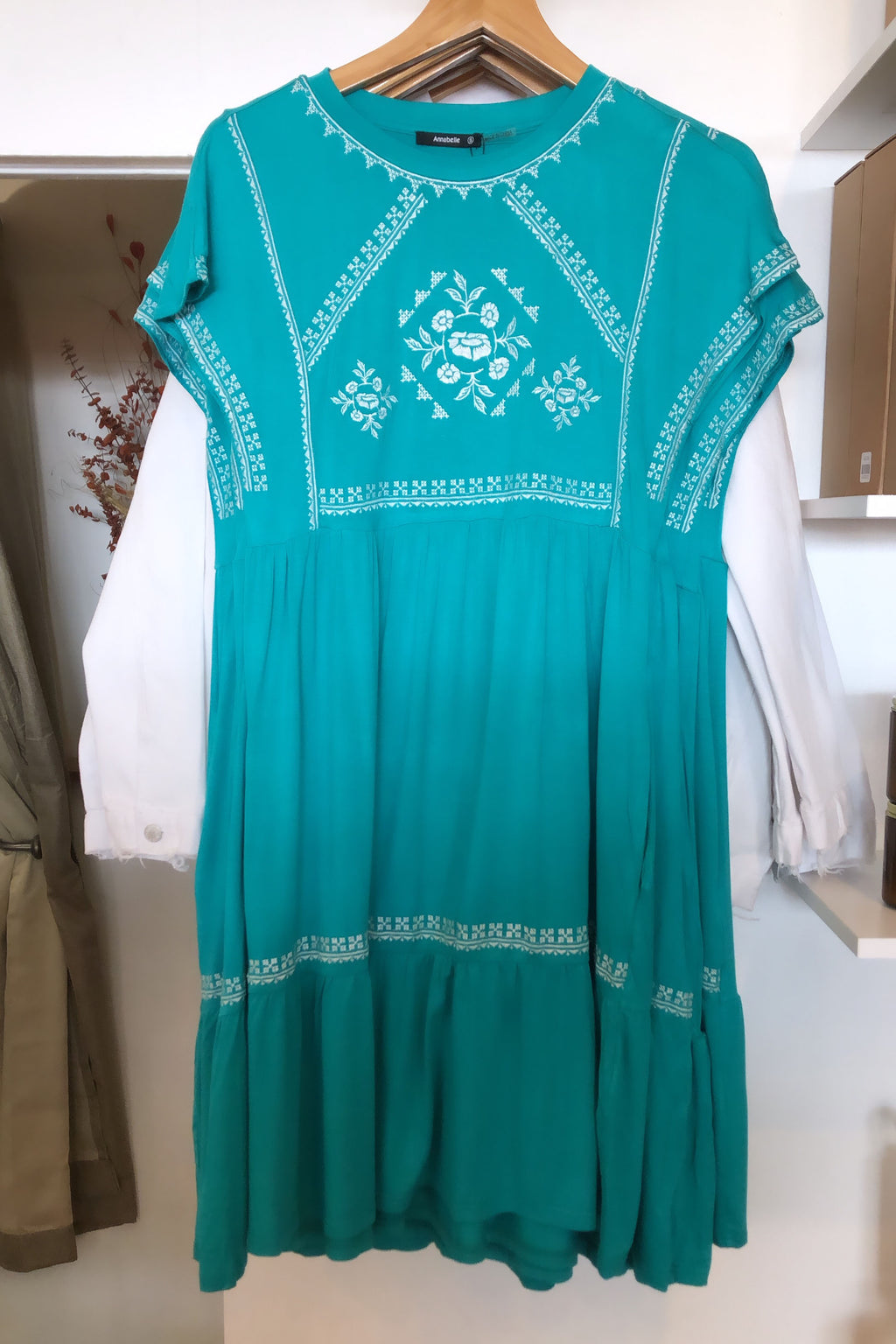 Jade Jersey Embroidered Dress