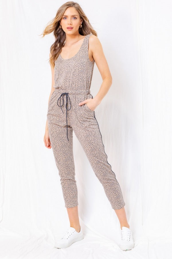 Leopard Knit Jumpsuit Terra Cotta
