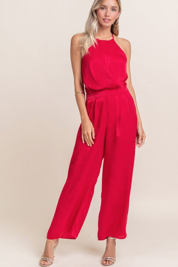 Lush Lipstick Red Satin Jumpsuit Terra Cotta