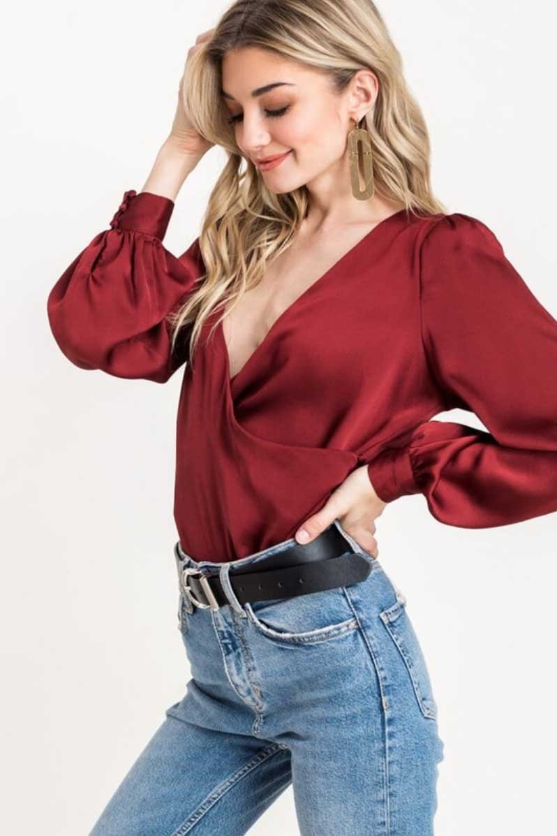Lush Red Brick Satin Blouse Terra Cotta