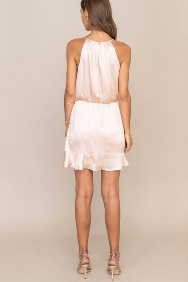 Lush Champagne Satin Halter Dress Terra Cotta