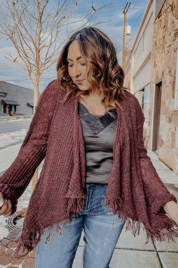 Maroon Fringe Sweater Terra Cotta