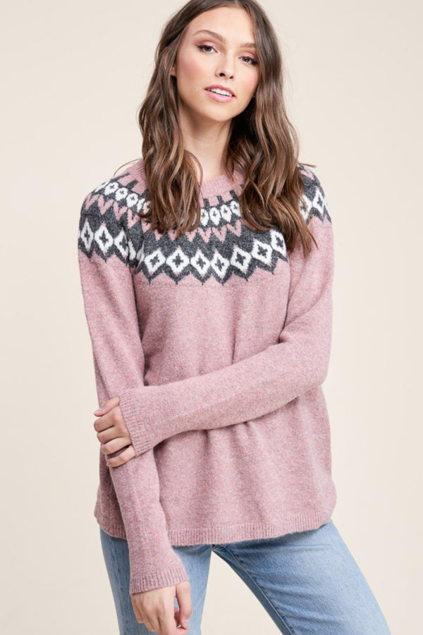Mauve Fair Isle Sweater Terra Cotta