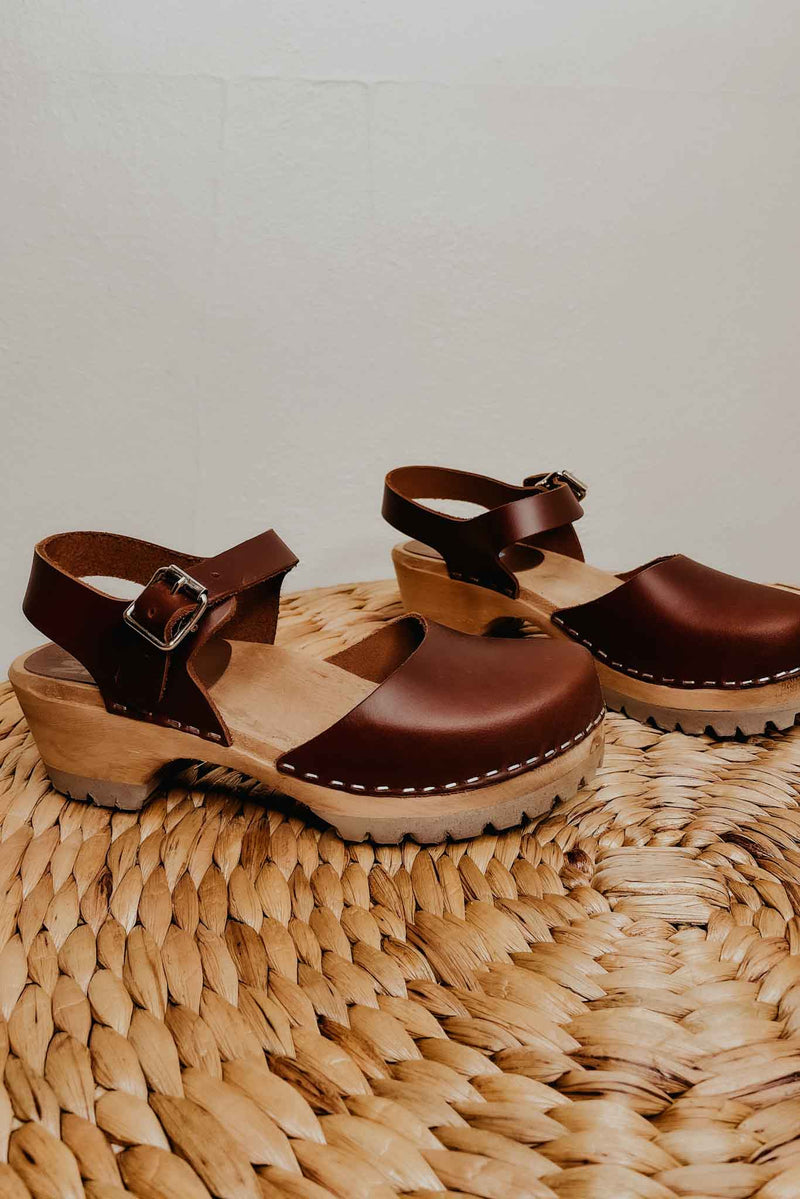 Terra Cotta MIA Freja Clogs- Dark Brown
