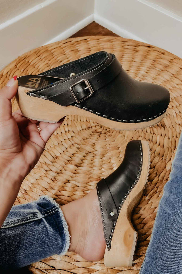 Terra Cotta MIA Alma Clogs- Black