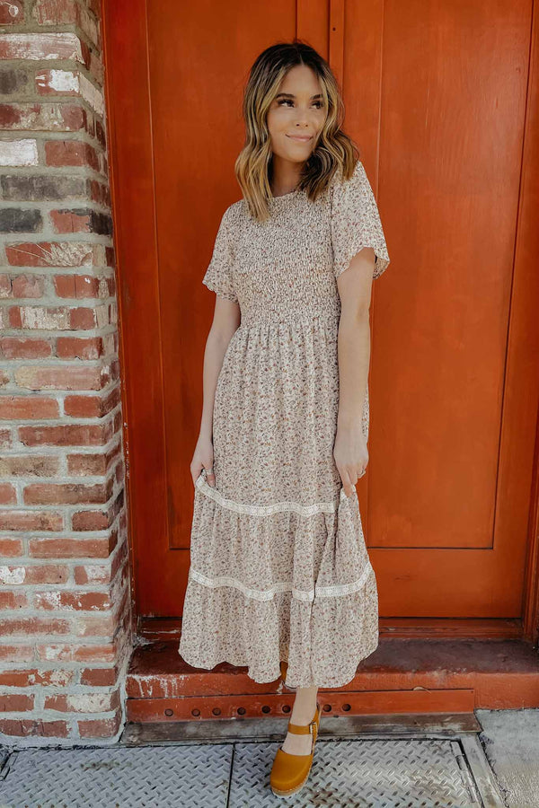 Terra Cotta Midi Floral Peasant Dress