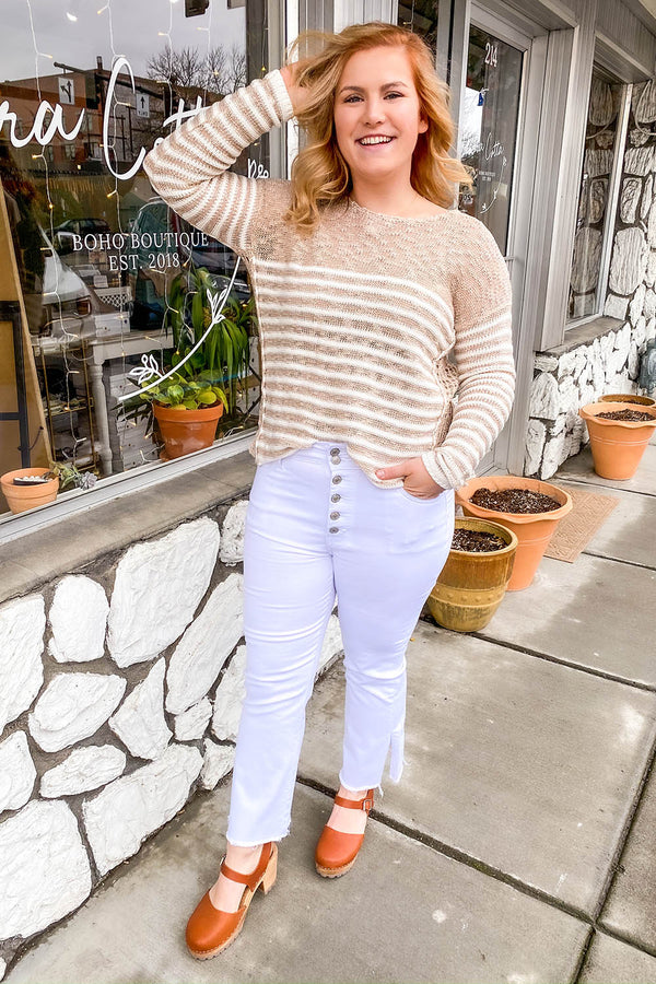 Natalia Beige Striped Knit Sweater