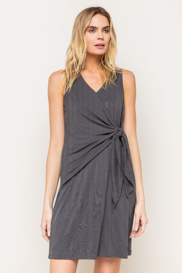 Charcoal Wrap Front Knit Dress