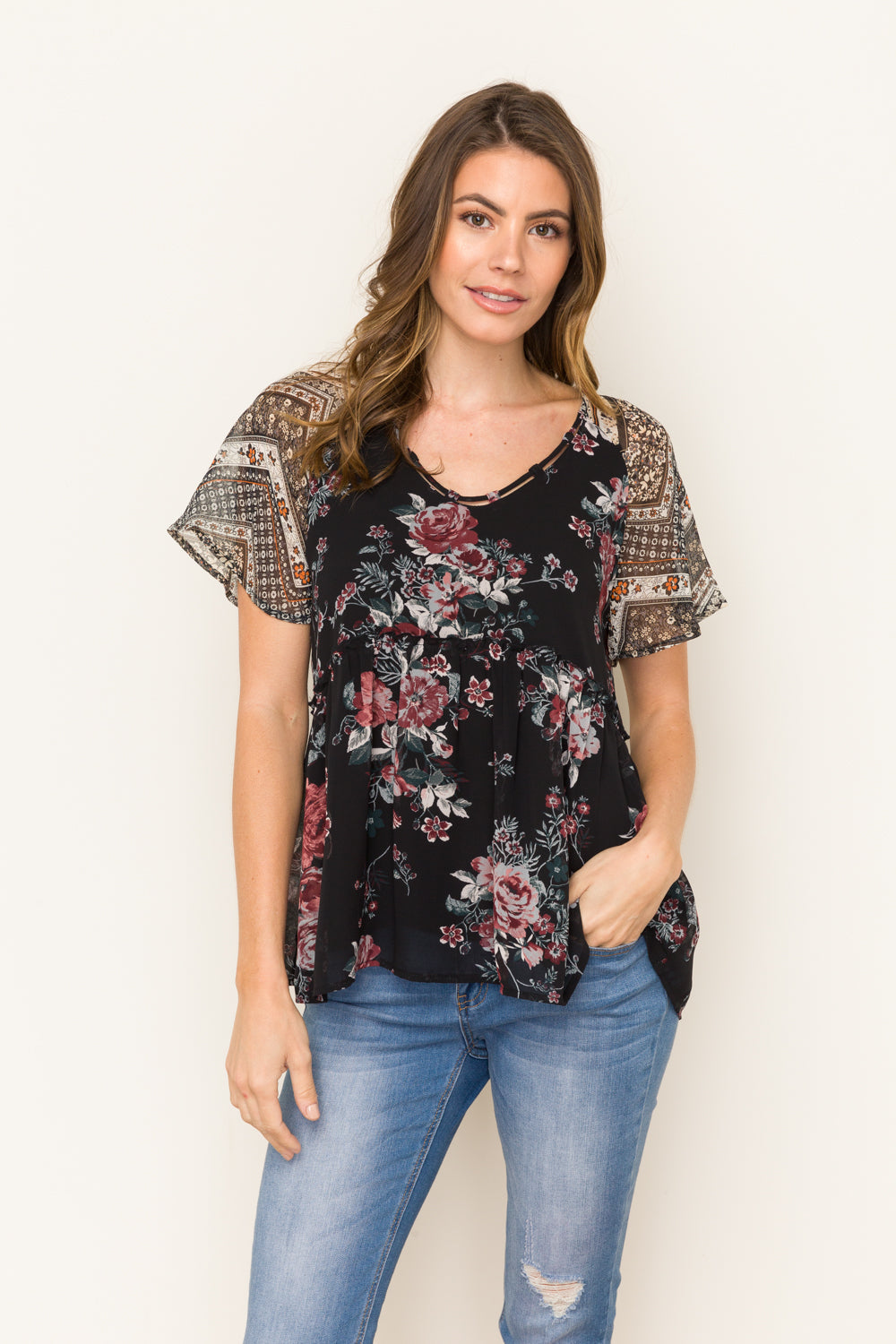 Mixed Print Baby Doll Top