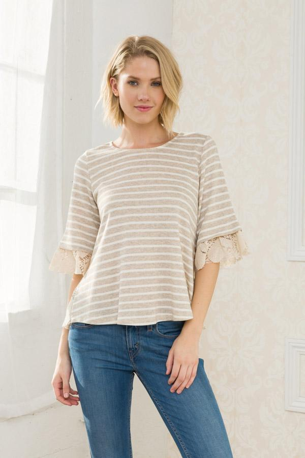 Neutral Stripe Lace Trim Blouse