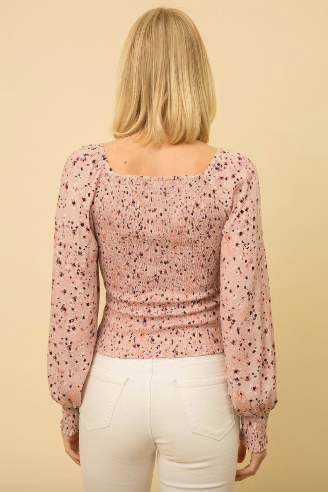 Terra Cotta Sophie Smocked Floral Top