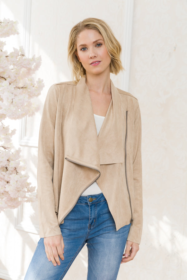 Super Soft Faux Suede Drape Jacket