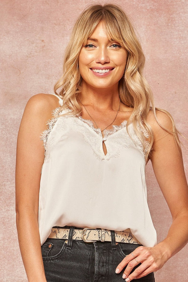 White Satin Lace Tank Terra Cotta