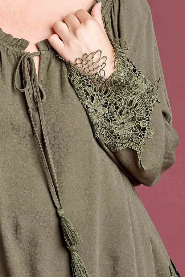 Olive Plus Long Sleeve Blouse with Lace Trim Hem Terra Cotta