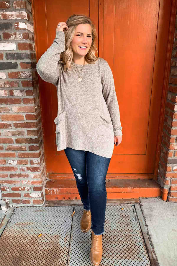 Terra Cotta Olive Pocket Sweater Top