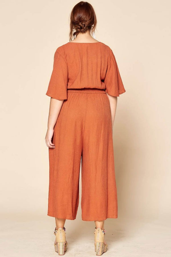 Plus Ania Rust Jumpsuit Terra Cotta
