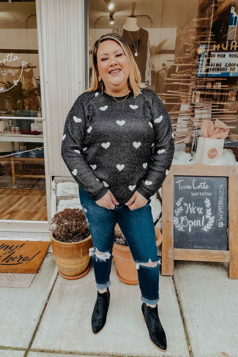Plus Black & White Hearts Tinsel Sweater Terra Cotta
