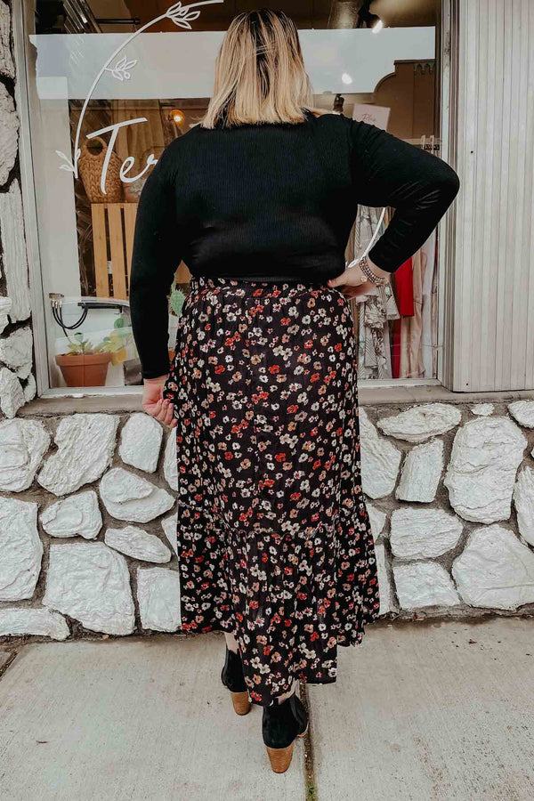 Plus Black Floral Midi Skirt Terra Cotta