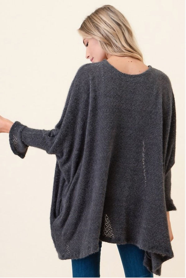 Plus Charcoal Cardigan Sweater Terra Cotta