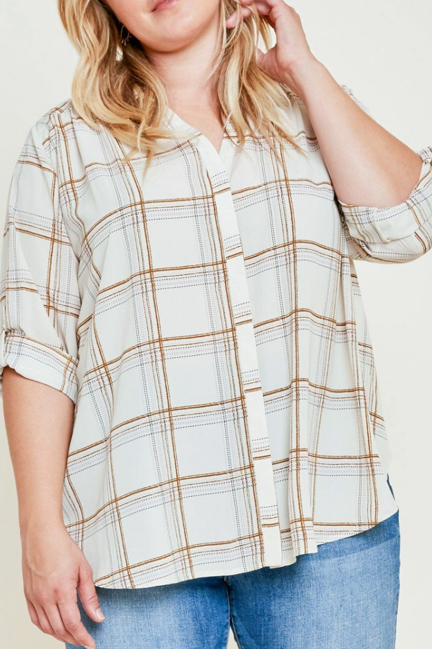Plus Cream Plaid Button Down