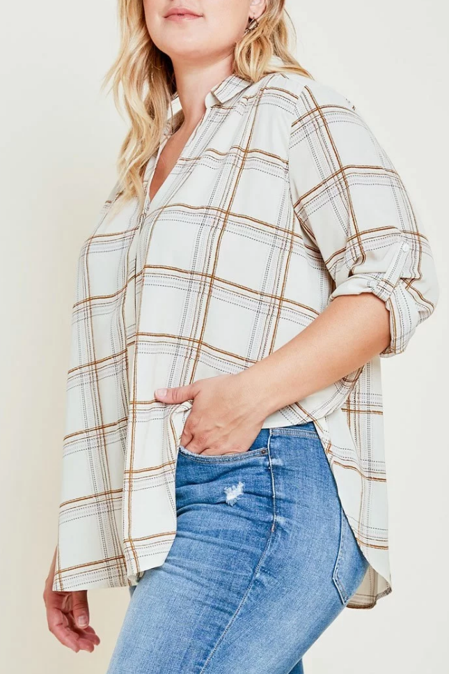 Plus Cream Plaid Button Down - Terra Cotta