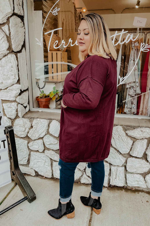 Plus Plum Cardigan Sweater Terra Cotta