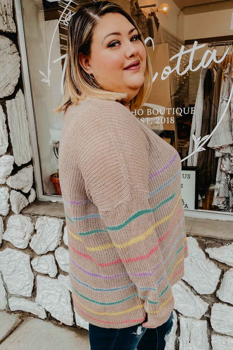 Terra Cotta Plus Rainbow Striped Sweater