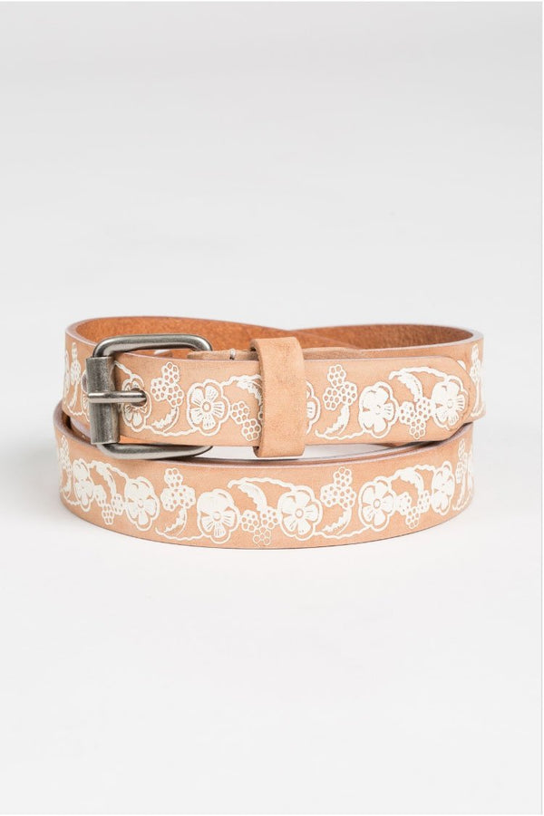 Genuine Leather Belt- Natural Terra Cotta