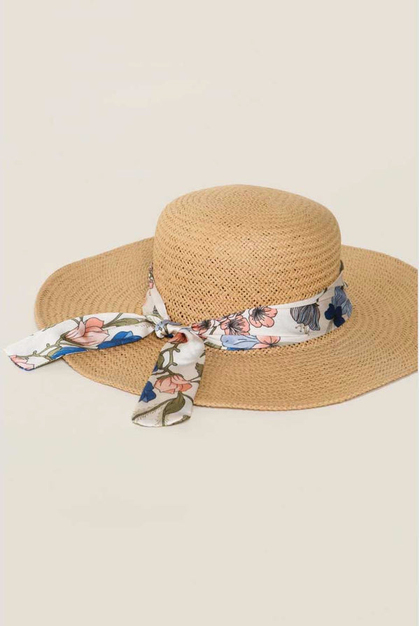 Natural Sun Hat with Ribbon Terra Cotta