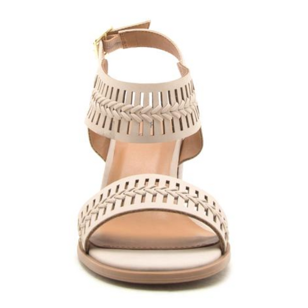 Block Heel Braided Sandals - Terra Cotta