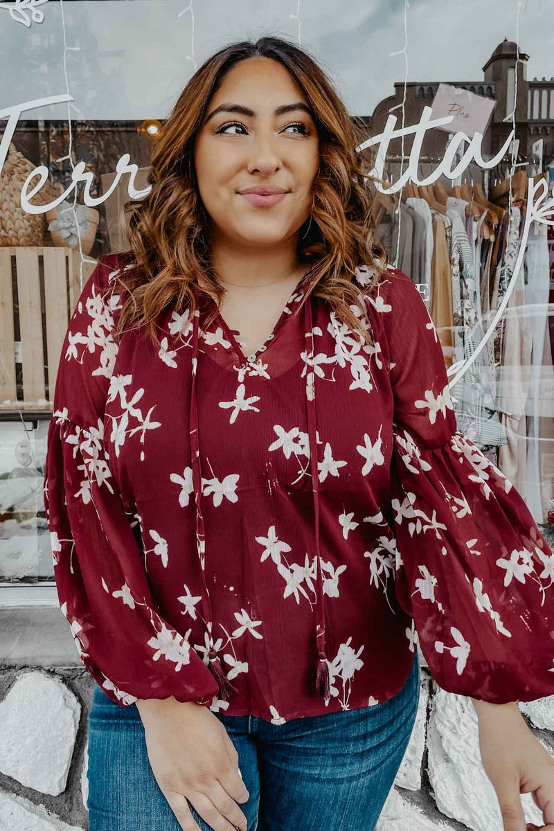 Ruby Floral Blouse Terra Cotta