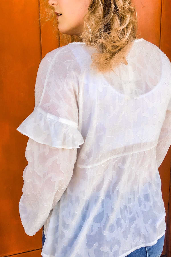 Terra Cotta Ruffled White Blouse
