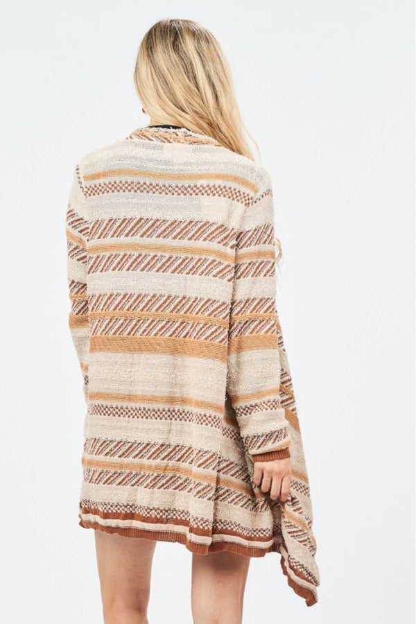 Beige Shaggy Knit Open Sweater Terra Cotta