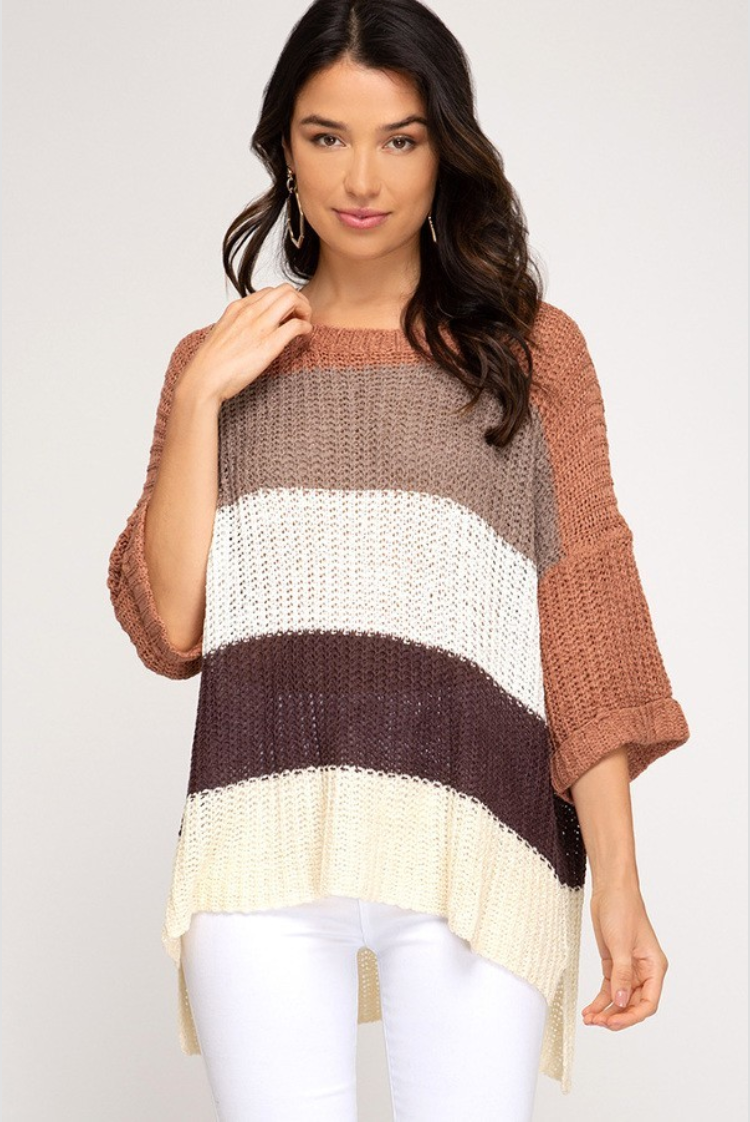 3/4 Sleeve Color Blocked Sweater