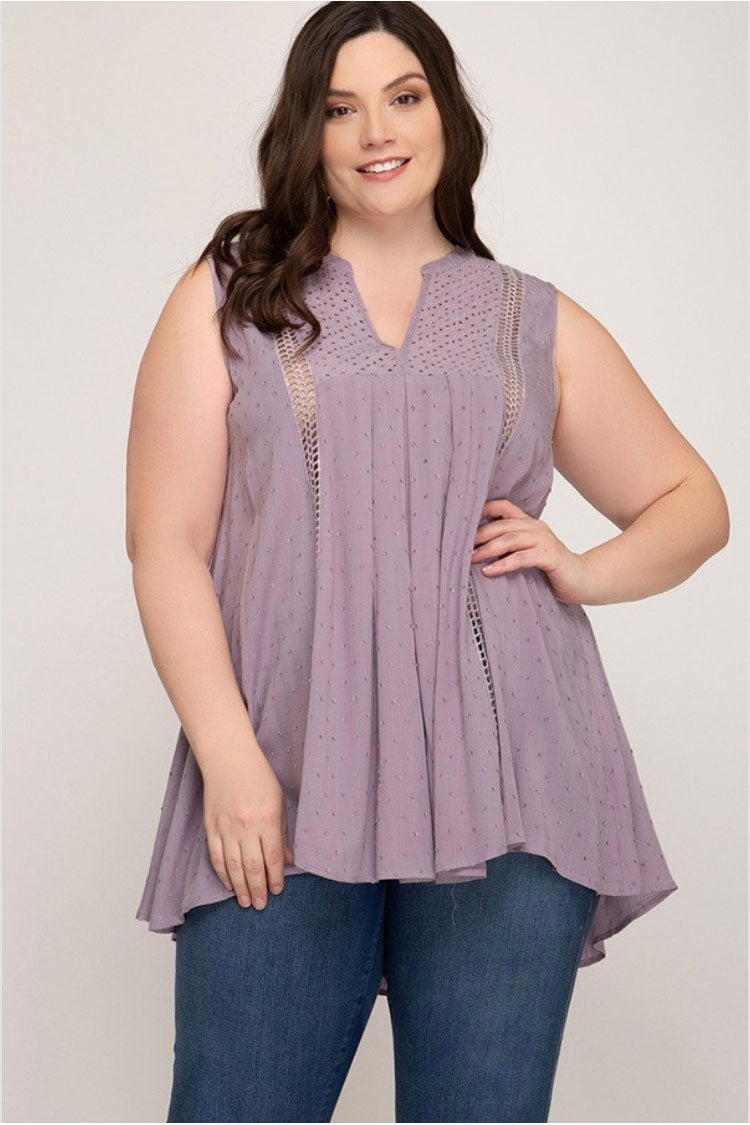 Plus Mauve Sleeveless Lace Tunic Terra Cotta