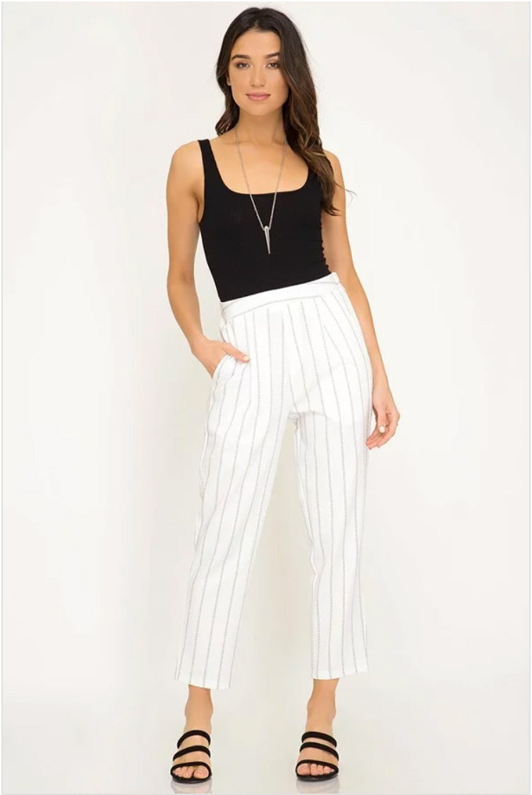 Off-White Striped Woven Trousers Terra Cotta