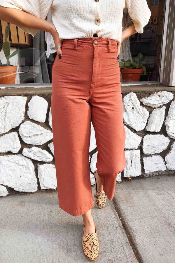 Sienna Cotton Wide Leg Pants Terra Cotta