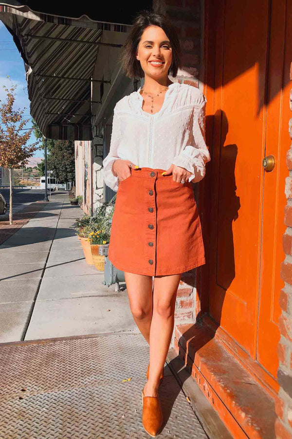 Sienna Scalloped Skirt Terra Cotta