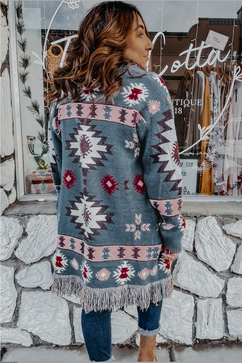 Southwest Fringe Sweater Terra Cotta
