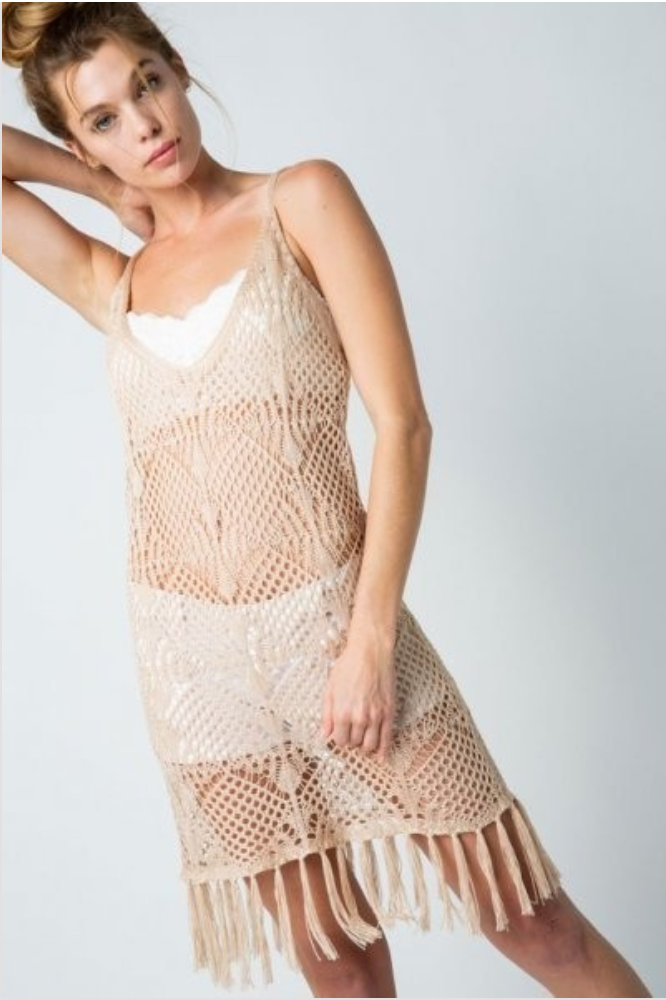 Crochet Swim Cover-Up Dress - Terra Cotta