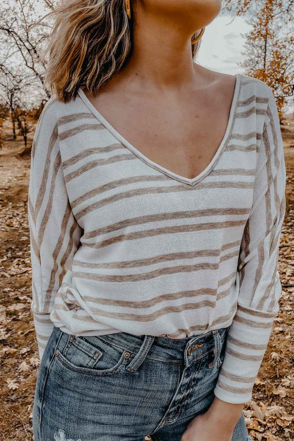 Tan Stripe Sweater Top Terra Cotta