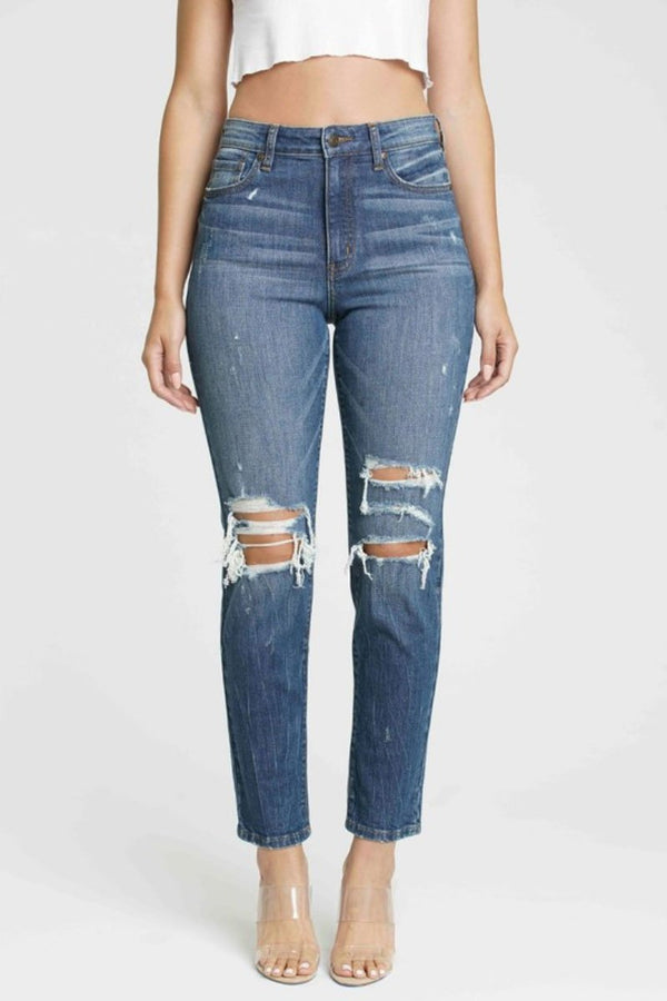 Toby Distressed Mom Jeans Terra Cotta