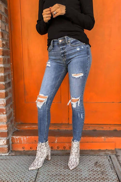 Vivacious Distressed Cropped Jeans Terra Cotta