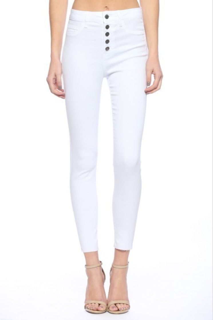 Lucy Exposed Button White Skinnies - Terra Cotta