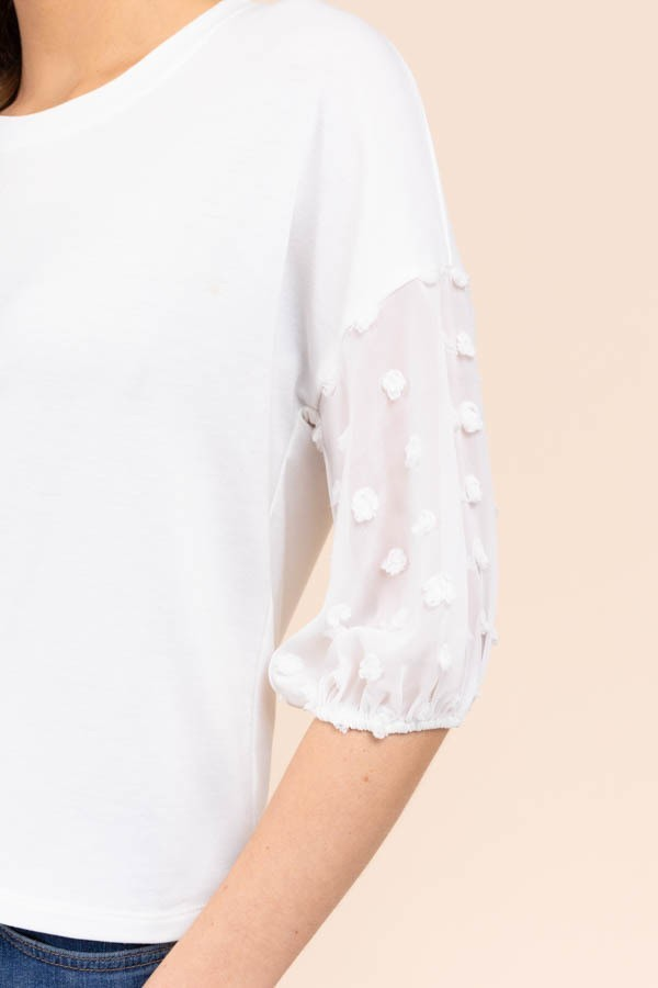 Dainty Dot Textured Sleeve Top