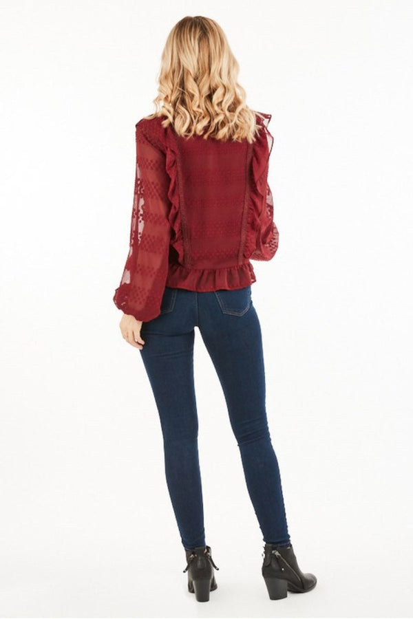 Wine Ruffled Blouse Terra Cotta