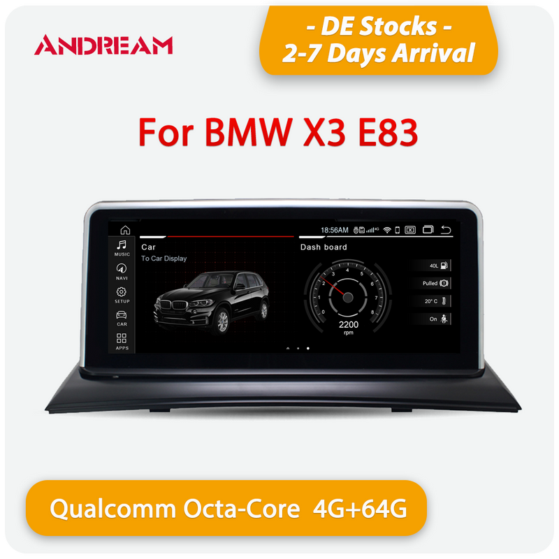 "Andream 10.25"" Android 10.0 4G+64G Qualcomm Octa-core built-in 4G-LTE IPS Car Interface MultiMedia for BMW X3 E83 2003-2010 GPS navigation Head unit"
